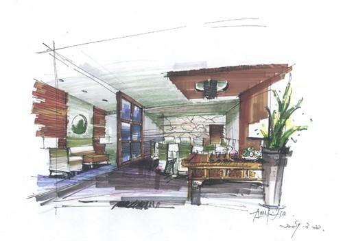 湖南农业大学室内生态设计方向手绘作品--夏梦