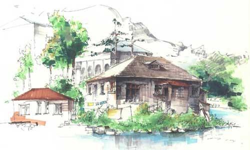 湖南农业大学室内生态设计方向手绘作品--乌玲