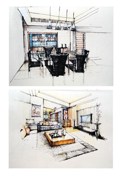 客厅及餐厅手绘!