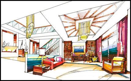 手绘中式别墅_美国室内设计中文网