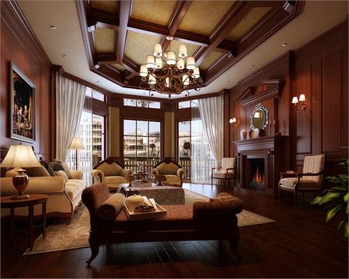 跃层-200平米-客厅装修效果图; 保利国际高尔夫花园别墅-跃层-200㎡