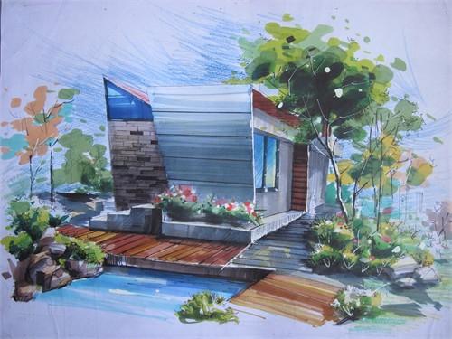 别墅庭院手绘效果图