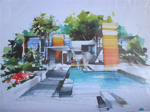 环艺室外手绘效果图图片分享; 室内设计_美国室内设计中文网;