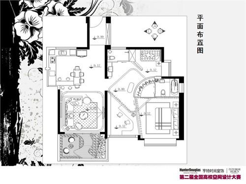 手绘室内平面布置图 室内家装平面布置图