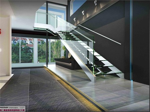 楼梯间效果图; 室内大厅玻璃扶手楼梯效果图; 玻璃楼梯装修效果图