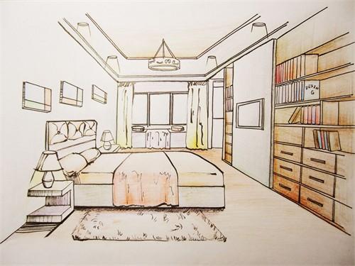 卧室手绘彩色立面图