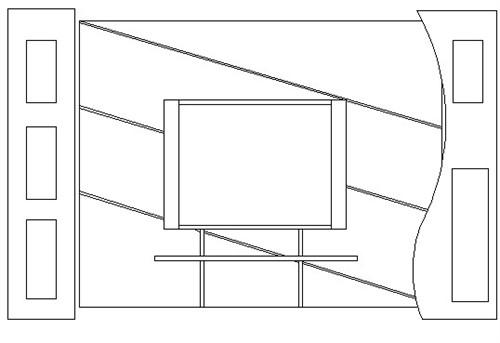 电视手绘背景墙立面图