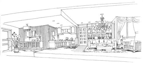 室内设计手绘效果图吧台手绘效果图酒吧吧台手绘效果