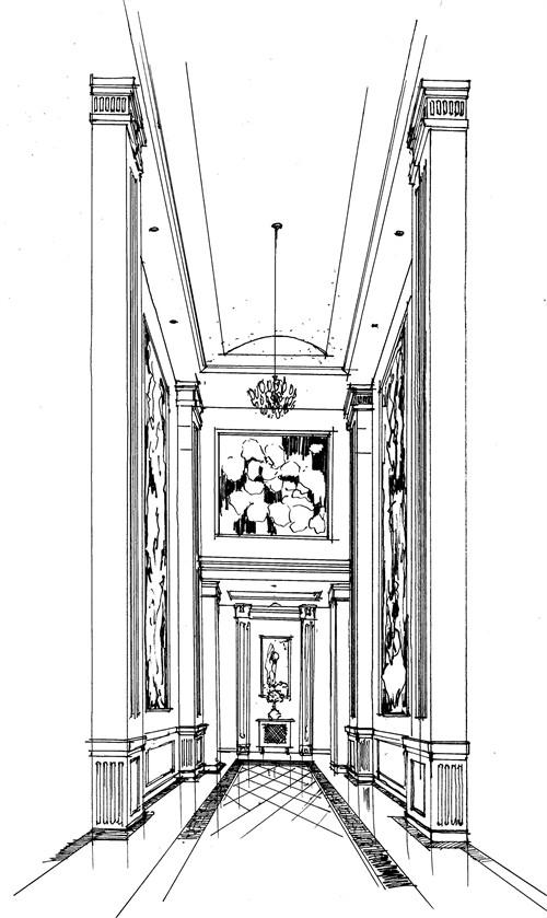 1#楼大堂手绘效果图