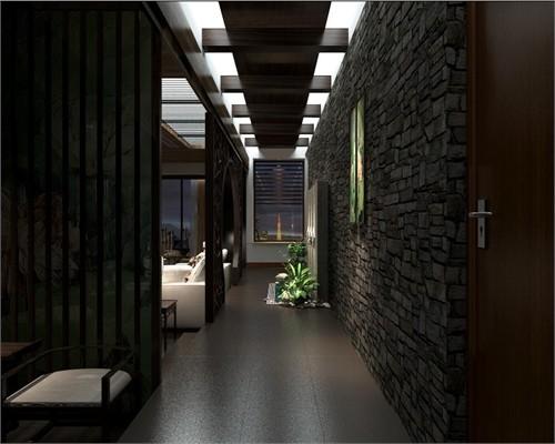 通过木格栅屏风进入客厅