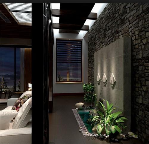 客厅:通过木格栅屏风进入客厅