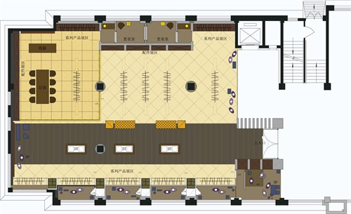 灯饰展厅手绘平面图