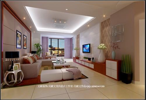 客廳靠落地窗采用弧形地臺的設計作為休閑區,廚房采用u型設計手法