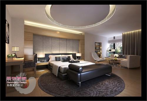 主人房以一弧形的床头屏与背景