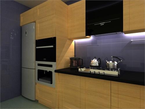 冰箱,烤箱,咖啡机均为嵌入式,与橱柜融为一体,在节约空间的同时使整个图片