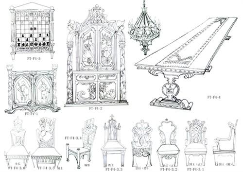 餐厅家具设计手稿图片