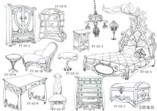 主卧家具设计手稿图片