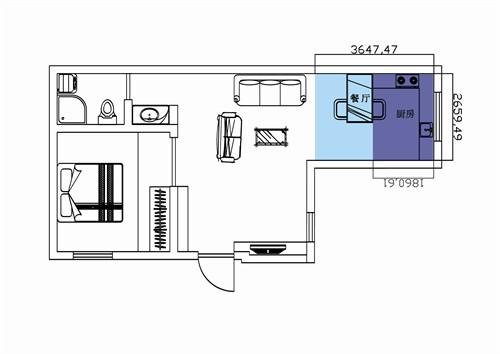 一室一厅小户型平面图高清图片