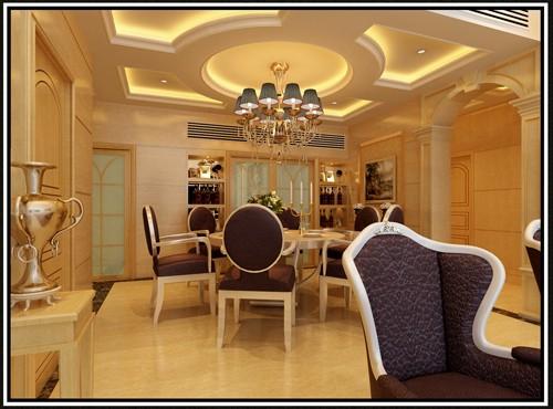 圆形餐厅装修设计效果图; 作品集名称:现代简欧设计中心