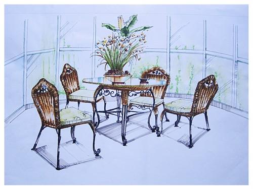 餐桌手绘三视图