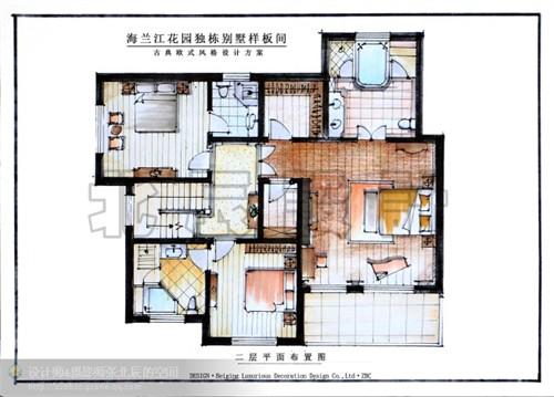 张北辰设计-新古典欧式别墅马克笔手绘方案