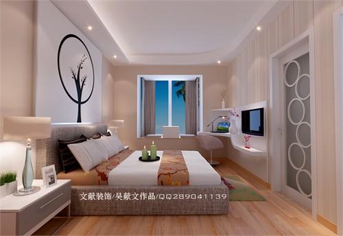 将其空间利用设计成一个走入式衣柜,电视柜与书桌的一体化以及床头图片