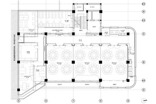 案例  场地原始平面图,业主要求将空间重新规划,以满足独立的中型宴会
