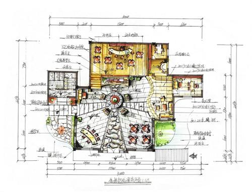 半山别墅售楼部平面布置图