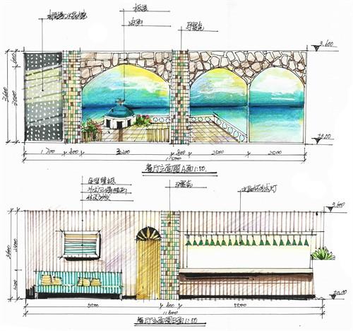 地中海风格餐厅立面图