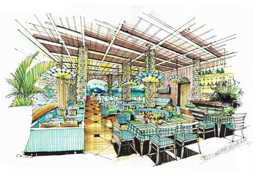 地中海风格餐厅手绘效果图