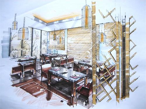 中式客厅餐厅室内设计手绘效果