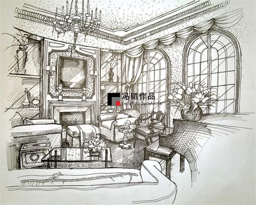 欧式室内设计效果图手绘