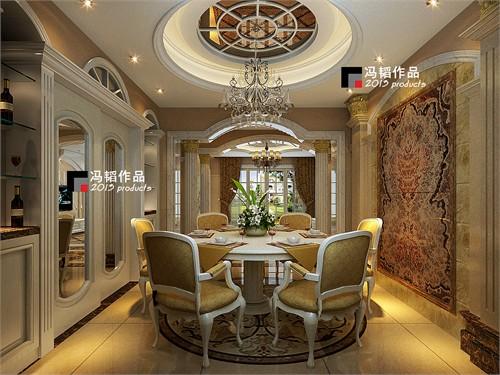 客餐厅与过道之间以欧式大理石罗马柱门套造型分隔
