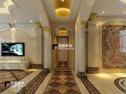 客餐厅与过道之间以欧式大理石罗马柱门套造型分隔图片