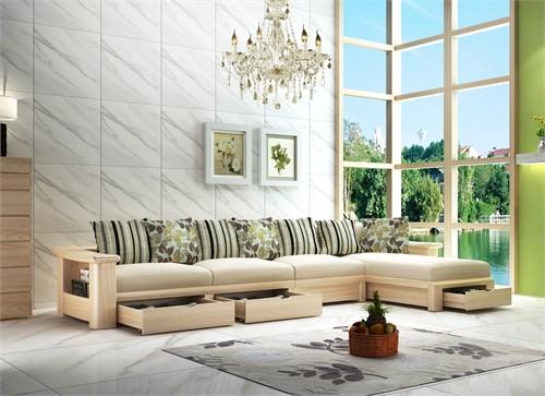 现代原木配软包沙发