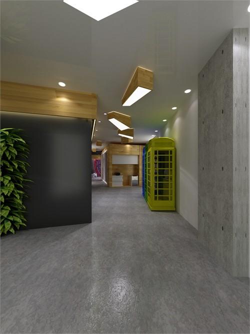 会议室由实木木板构建围合而成