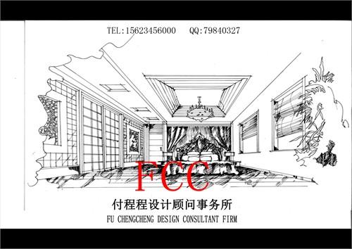 室内别墅手绘'线稿