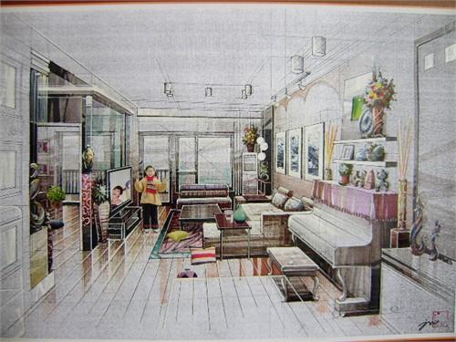 室内效果图与手绘稿
