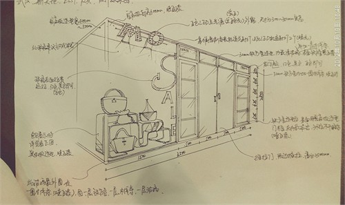 手绘商业及住宅空间设计 商业店铺空间手绘
