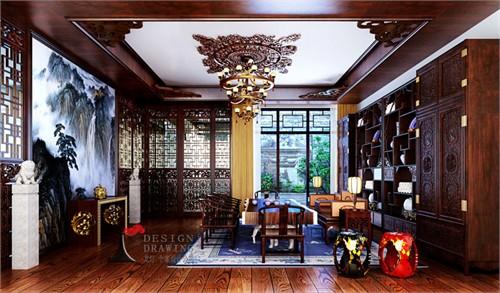 本案主案设计熊龙灯将风格定位为欧式古典,在局部空间-茶室,继承中国