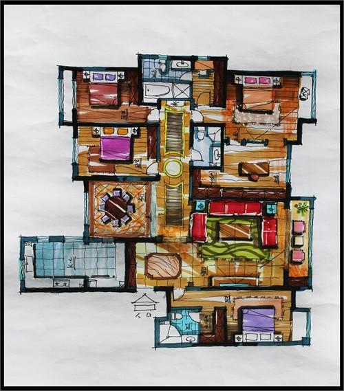 平面布置手绘方案3