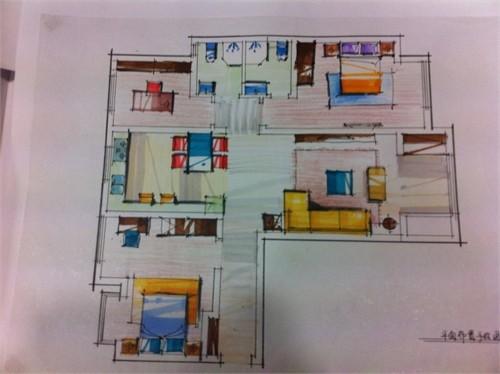 首页 69  设计师俱乐部 69 案例  原始平面图. 手绘天花布置图.