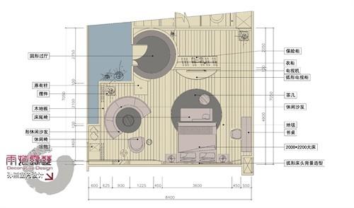 圆转角酒店吧台设计结构图