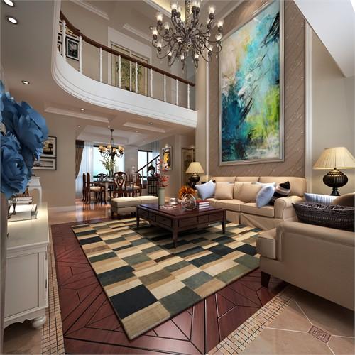 从客厅看餐厅 沙发背景一体式设计