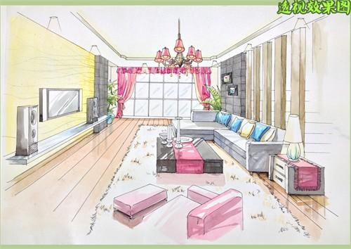 室内家具一点透视