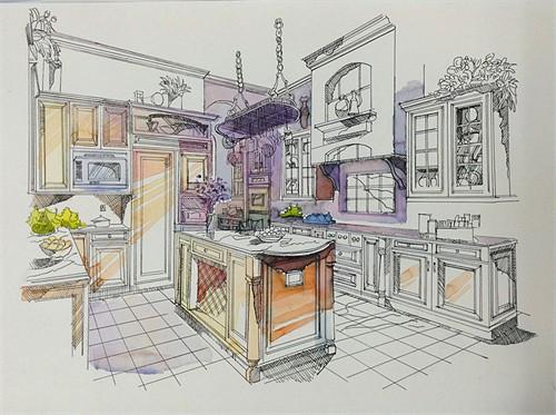 厨房透视手绘效果图