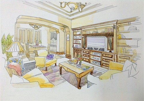 客厅透视手绘效果图