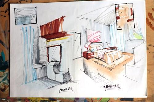 主卫跟主卧的手绘效果图,主卫的洗手台跟马桶成为一体,,节省了空间