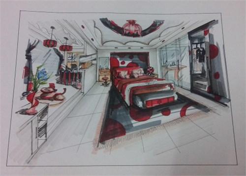 手绘卧室书房设计效果图