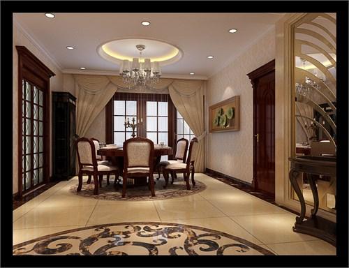 欧式设计,设计上以大理石为主要材料,理石和软包相结合,茶镜的点缀